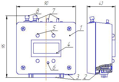 Информационный блок БИН.3МК, габаритный чертеж